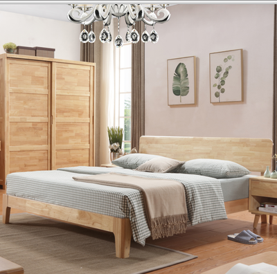 Pure solid wood, Japanese style 1.5/1.8 meter white oak double bed, environmental protection marriage bed bedroom furniture, Nordic modern simplicity
