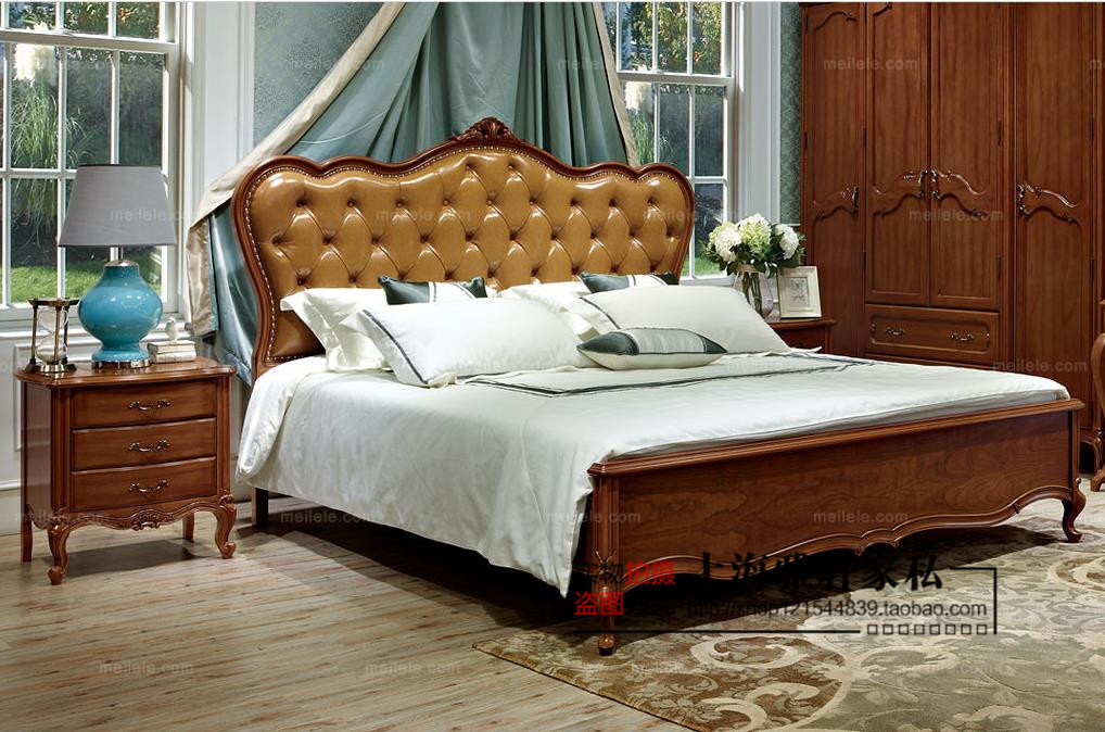 American country solid wood bed top villa pull buckle soft 1.8m double bed oak bed luxury wedding bed furniture