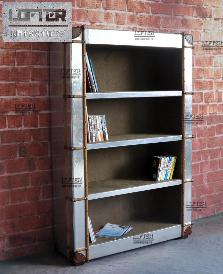 Гуччи ретро алюминий шкаф металлический шкаф ностальгии кожи космос американский ретро мебель шкаф книжный шкаф