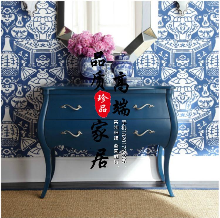 L'Américain Village entrée décoré de l'armoire de bois européen Hall armoires rétro de casiers de chaussure bleue de la Méditerranée