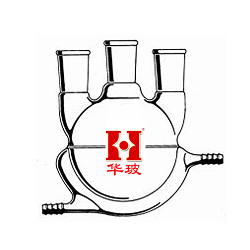 Jacketed three reaction flasks, 100ml diameter grinding mouth 24, two sides grinding 19 customized glass double deck reactor