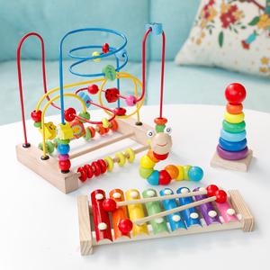 儿童绕珠串珠益智玩具6-12个月婴儿宝宝积木0-1-2周岁3岁男孩女孩