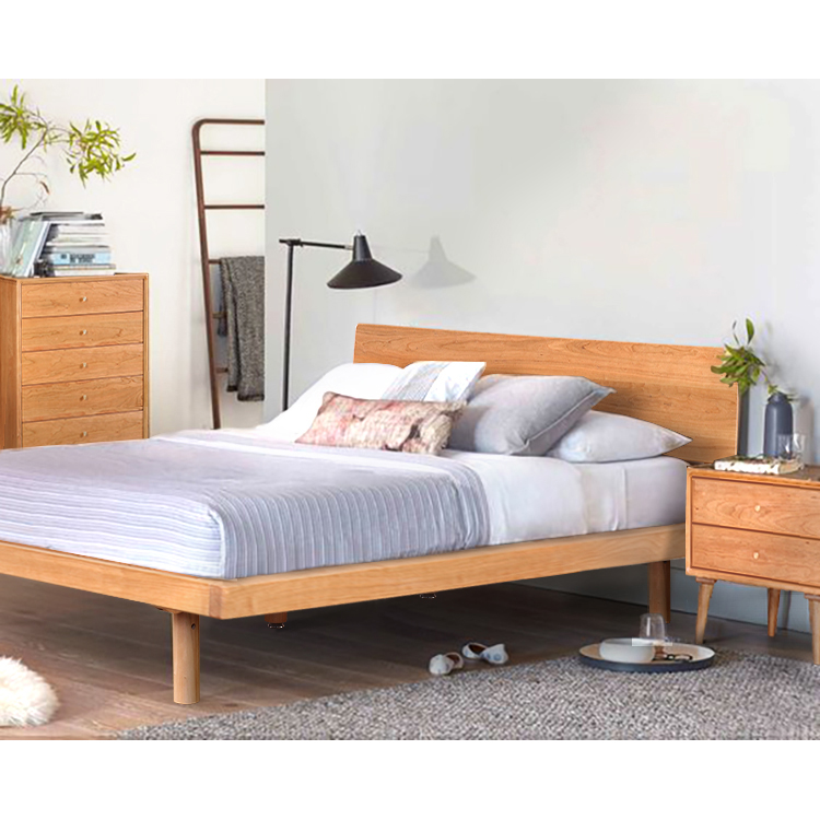 The original library Home Furnishing Nordic Nordic solid wood bed main log 1.8 meters double simple adult bedroom furniture