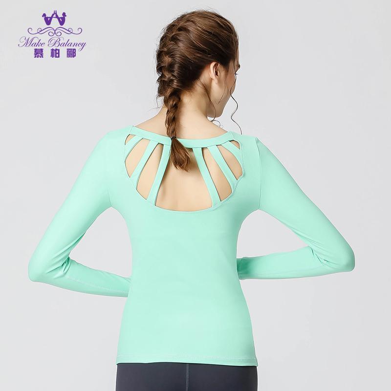 Li Mu Bai outono inverno manga longa roupas novas de nylon back bra esportes yoga fitness blusa T - shirt, skinny dança