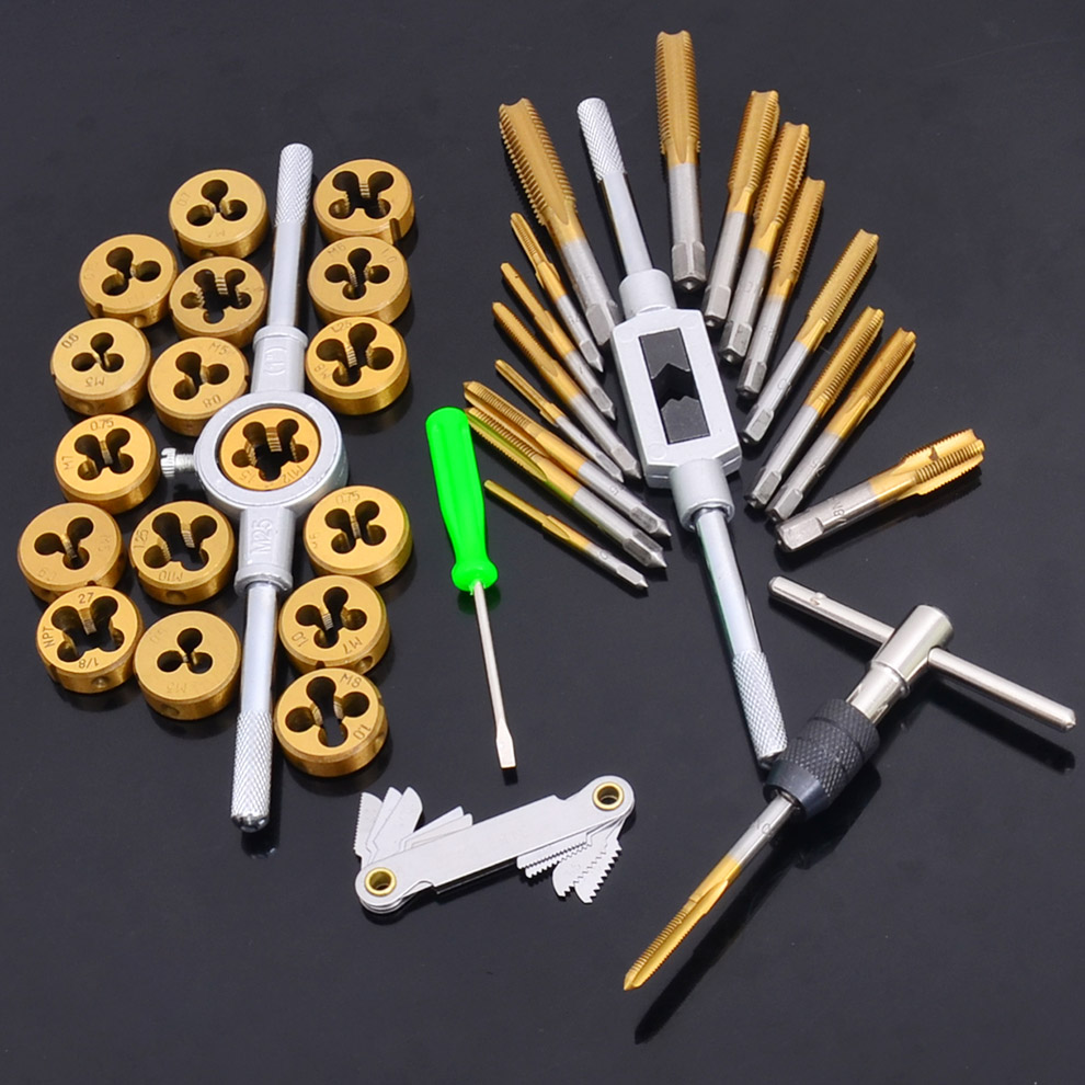 A tool on the tap and die set hardware die combination hand tapping wrench holder metric screw