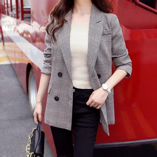 格子西装外套女韩版2018新款春秋装英伦风休闲复古格纹chic小西服