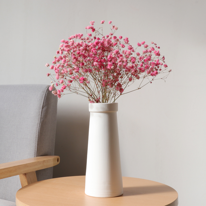 白色電視柜白色陶瓷天星干花花瓶擺件客廳插花 現代簡約文藝小清新