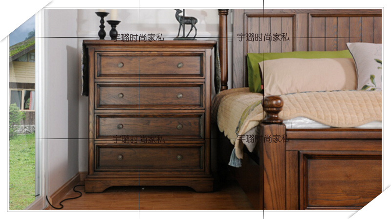 American country solid wood double bed, European oak bed, 1.8 meters double bed, antique made old solid wood square bed, marriage bed