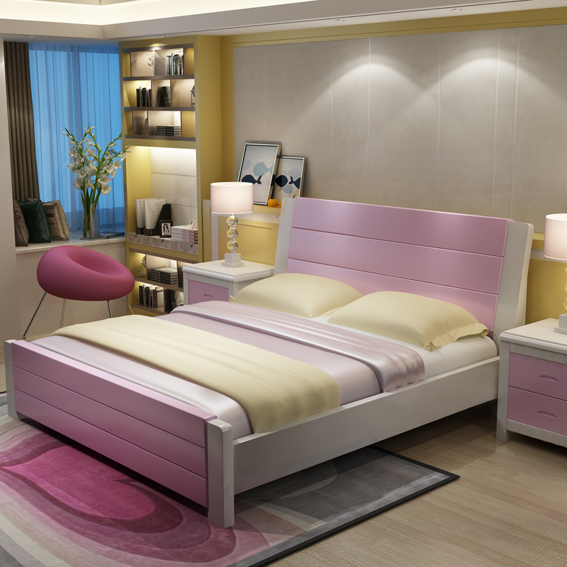 Solid wood bed, oak 1.51.8 meters, modern simple wooden simple bed, double bedroom princess bed, fashion wedding bed