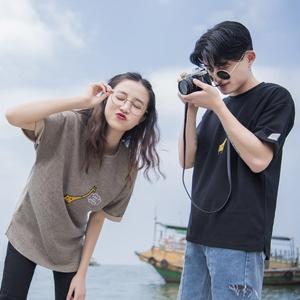 ins超火情侶裝夏裝2018韓版學生bf寬松ulzzang上衣短袖t恤女班服
