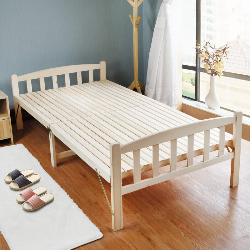 Folding bed, single bed, lunch break bed, nap bed, 1.2 meter sponge solid wood board, double simple bed chair