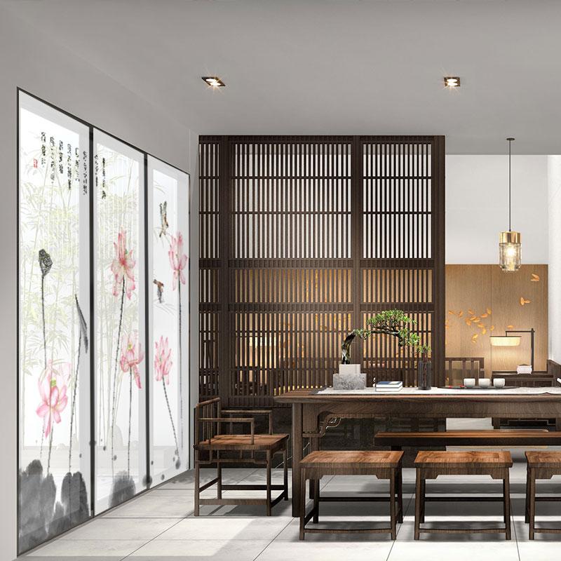 Rideau de volet roulant nouveau style chinois d'occlusion le salon de décoration de rideau rideau de séparation rideau rideau suspendu de l'écran de bureau