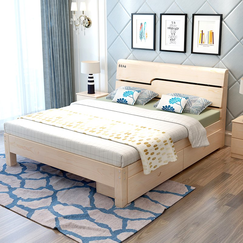 Simple modern double bed, adult assembly bed, master bedroom, 1.8 meters, 1 meters, 2 small solid wooden bed of economic type