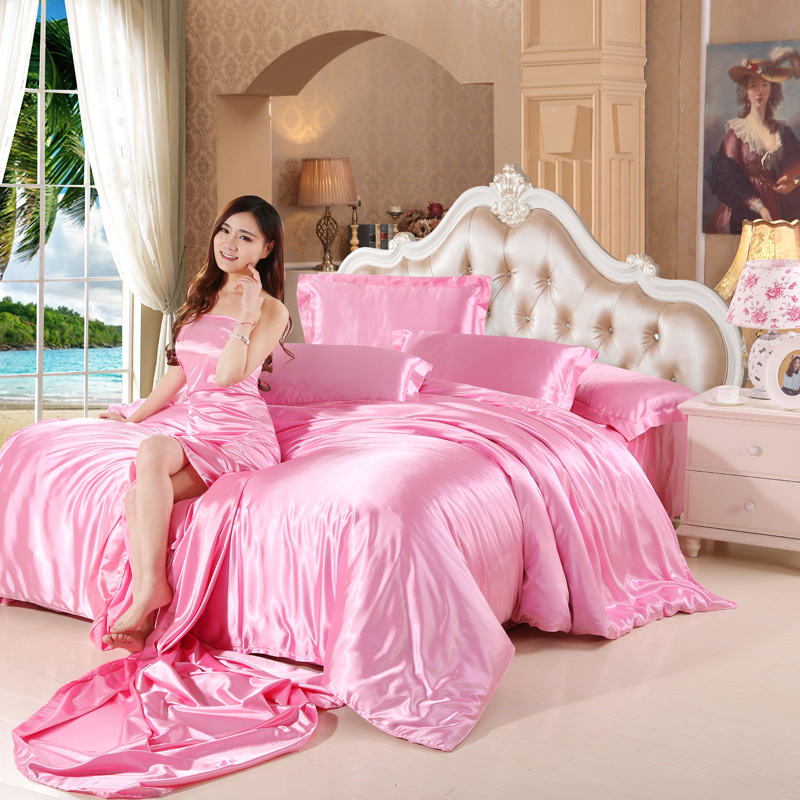 In the summer of 1.8 pure silk silk sheets plain ice silk satin quilt bed naked m supplies Tencel four piece bed hat