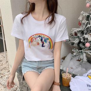 纯棉短袖t恤男女学生2019夏季新款白色宽松百搭打底衫情侣体上衣