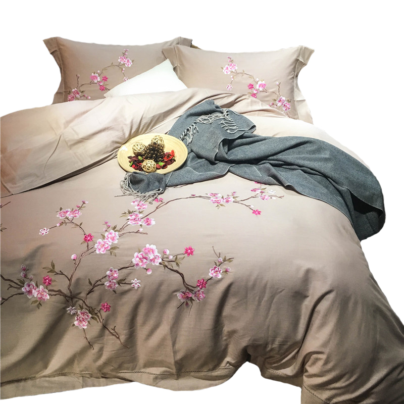 Chinese wind four sets of Chinese embroidery linen Tencel Tencel linen embroidered linen bedding in spring and summer