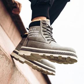 冬天新款男士雪地靴男英伦保暖靴子加绒皮鞋高帮鞋休闲加厚棉靴潮