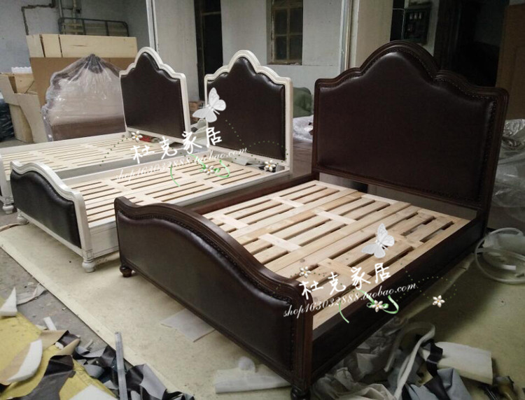 アメリカンカントリー全実木床1 . 8メートルダブル白いシンプルアメリカン田舎寝室家具純木カスタム