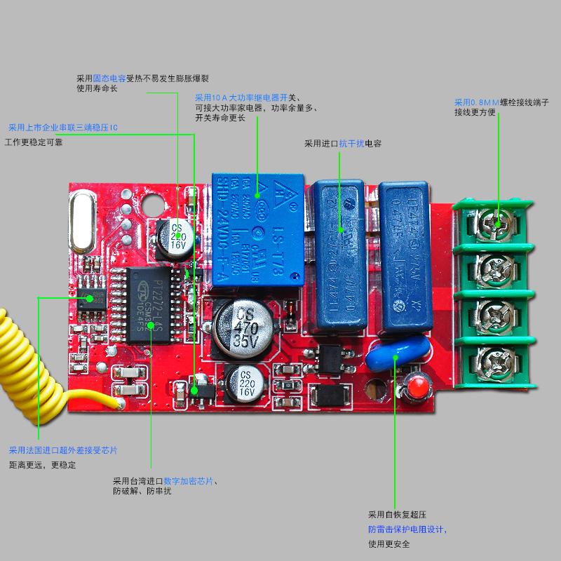 Interrupteur de commande à distance sans fil douille 220V 380v unique de grande puissance de pompe du dispositif de commande de moteur à distance de la paroi