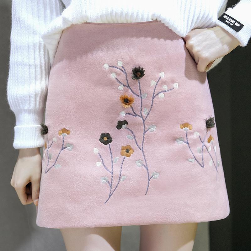 半身裙秋鼕女2017新款chic復古毛呢大碼高腰粉色刺繡包臀a字短裙