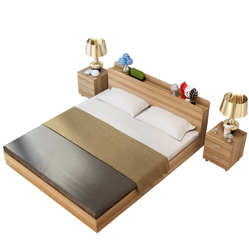 Modern minimalist Japanese 1.5 meters double 1.8m single bed 1.2 tatami storage bed economical type bed
