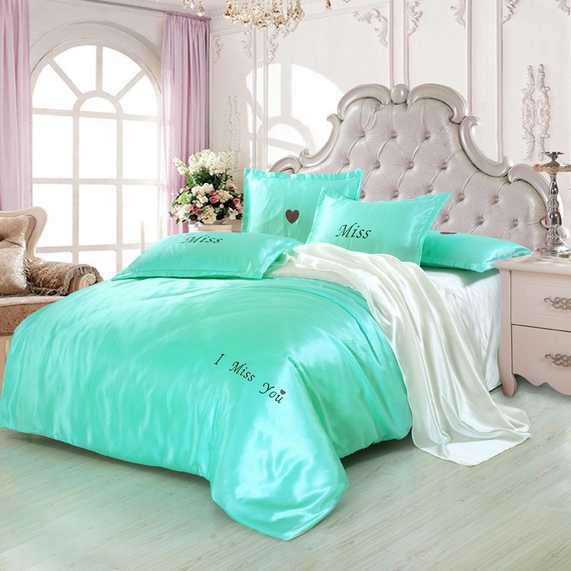Pure silk four piece silk silk bedding in spring and summer days fitted Princess wind bedding
