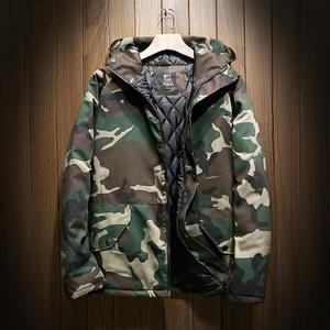2018秋冬季迷彩外套男加棉加厚冲锋衣加大码欧美工装潮牌户外夹克