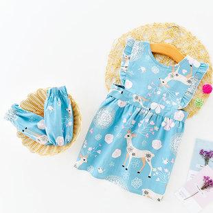 儿童围裙纯棉防水宝宝围兜罩衣婴儿无袖吃饭小孩背心式绘画画防脏