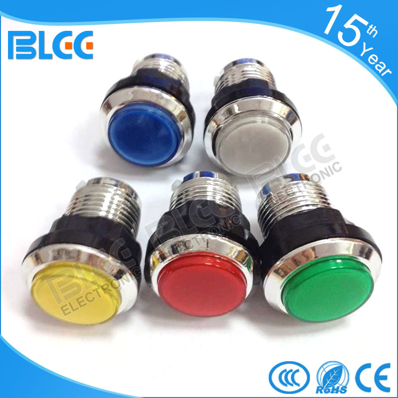 BL-33# game machine small round electroplating with light button, game machine accessories, clap game machine button switch