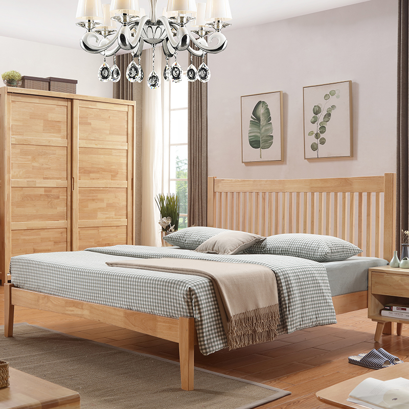 Nordic wood double 1.8 meters 1.5 meters full solid wood bed Changsha Zhuwo 2017 new oak bed package installation