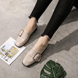 2018新款韩版粗跟单鞋女加绒一脚蹬懒人毛毛鞋百搭方扣外穿豆豆鞋