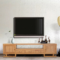 All solid wood TV cabinet combination of old elm furniture in the living room of new Chinese lacquer free TV cabinet cabinet storage cabinet