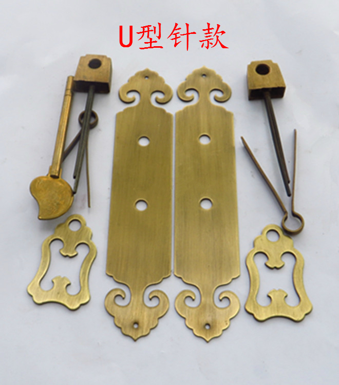 Handle hinge / Antique Chinese style hardware furniture copper fittings / door cabinet door, pure copper handle, hinge bolt set