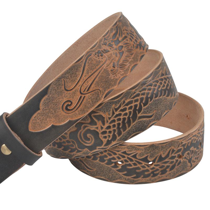 真皮紳士ベルトのせい無頭ベルト平滑割引枚の牛皮パンチベルトの連結皮3.8cm