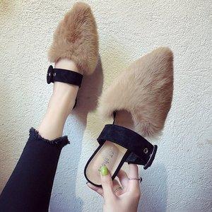 欧洲站毛毛拖鞋女秋2018新款平底韩版外穿包头穆勒鞋冬懒人半拖鞋