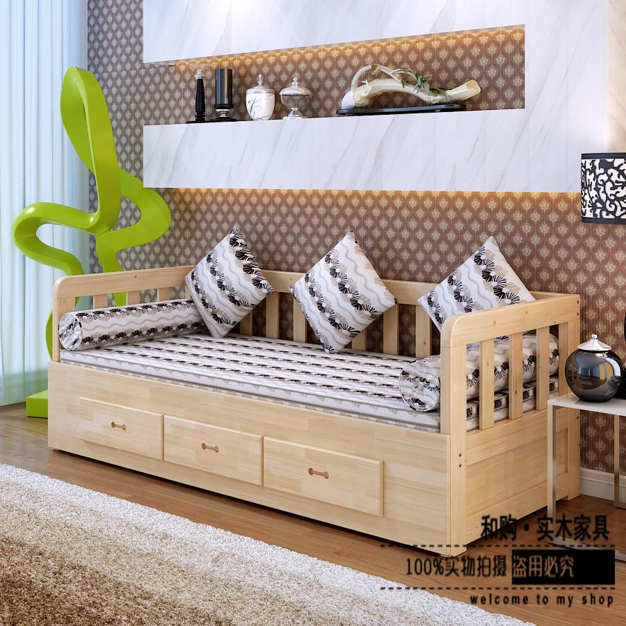 Λευκό ξύλινο καναπέ - κρεβάτι βουκολική μικρό μέγεθος σαλόνι den σπρώξε τον καναπέ - κρεβάτι διπλής χρήσης Ευρωπαϊκή κορεάτικα αποθήκευση
