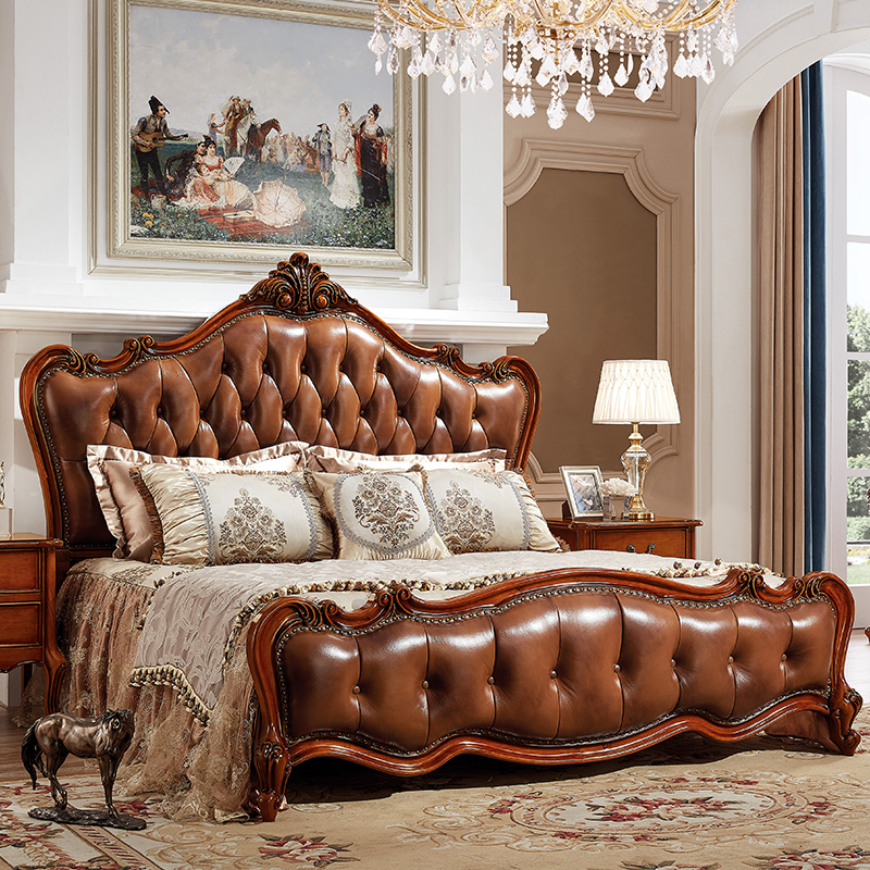 French luxury double bed solid wood bed leather bed Zhuwo simple European style European style bed Princess Wedding bed