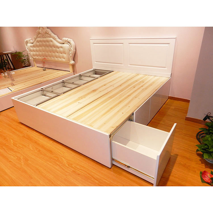 The space of ultra-thin two child multifunctional bed tatami with drawer type wood double bed main Aluminum Alloy