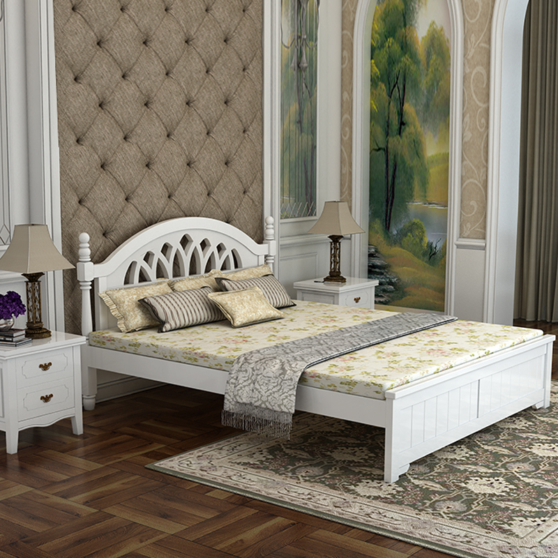 European style solid wood bed, white 1.8 meters, double Mediterranean children 1.21.5 single bed, pine garden high box bed