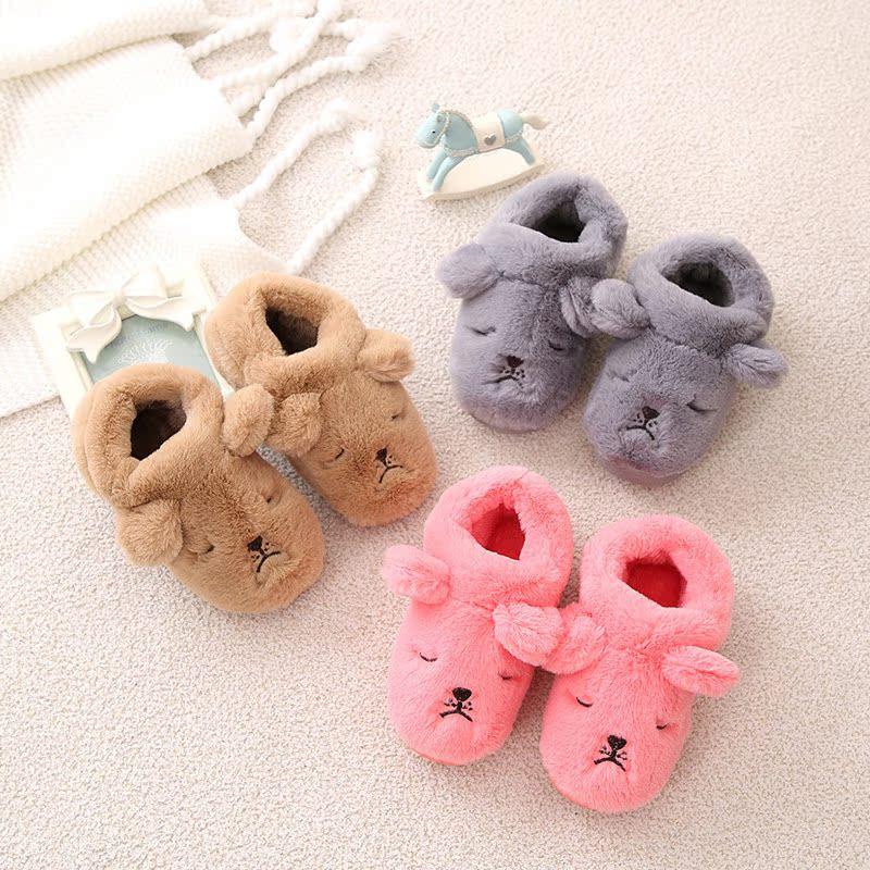 宝宝棉拖鞋男女童鞋包跟加绒保暖卡通防滑厚包跟儿童棉拖秋冬季