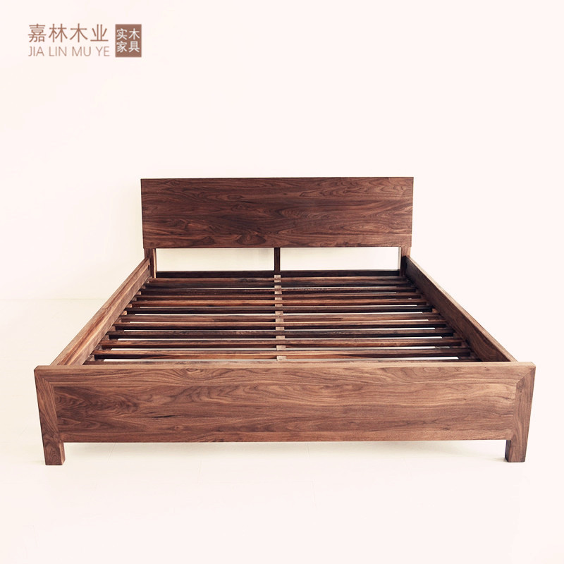Nordic black walnut bed oak 1.8 m full solid wood bed modern minimalist 1.5 bed fixed bed.