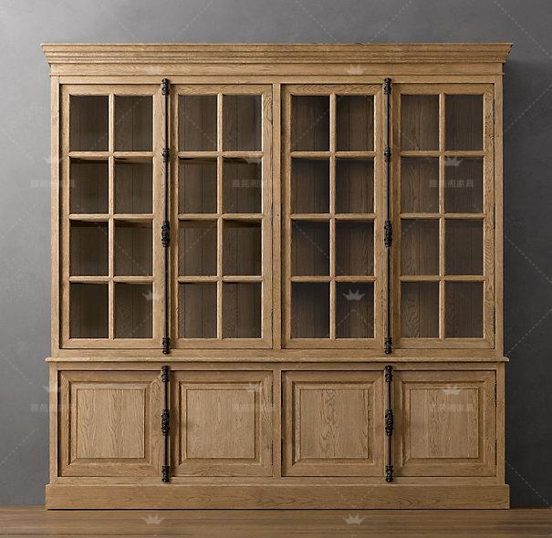 Les portes en bois de chêne américain de bord de verre de bibliothèques de repas rétro - quatre portes en bois massif de l'armoire de serrure de la bibliothèque