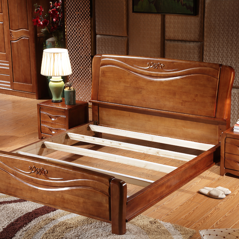 Products leap home modern Chinese Carved double bed oak bed, 1.8 meters solid wood bed, high box storage big bed wedding bed