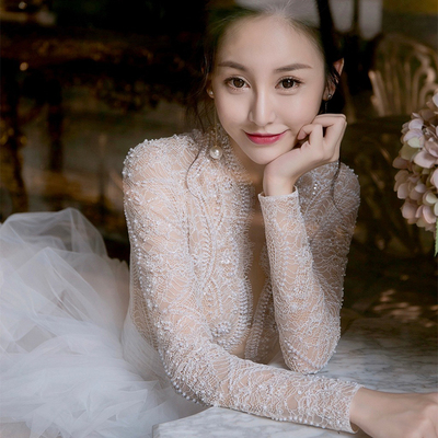 Wedding Dress 2018 new trailing dream princess palace court fairy shoulder lace long sleeve luxury Slim