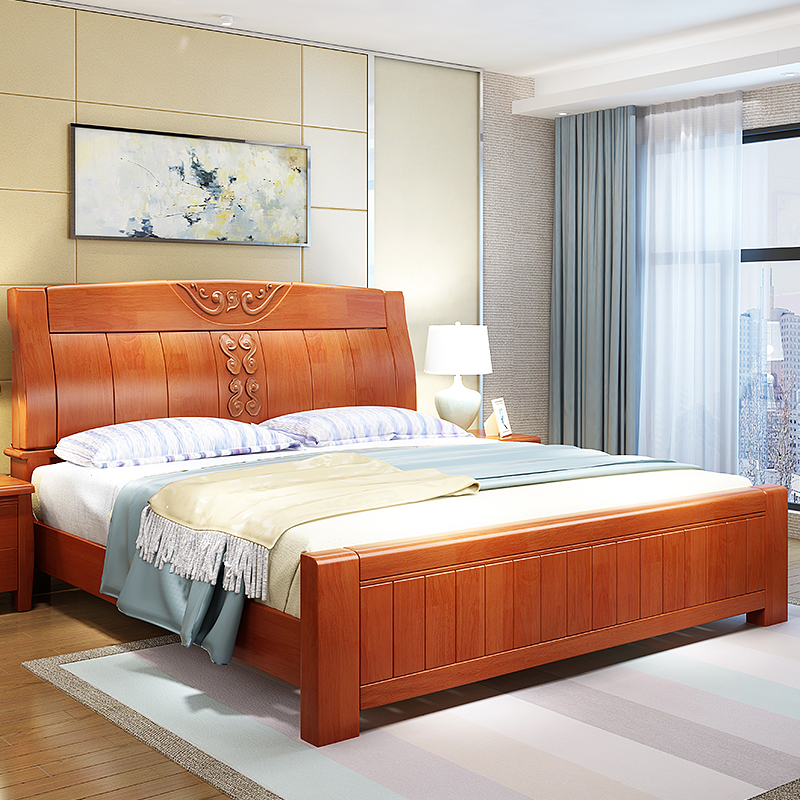 Solid wood bed modern minimalist 1.8 meters high box storage oak drawer double bed 1.5M Chinese master bedroom furniture