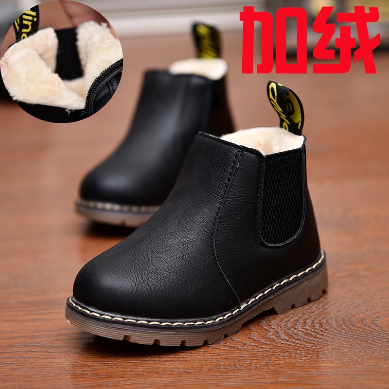 2017秋冬雪地短靴女童靴子单靴儿童马丁靴韩版男童加绒保暖大棉鞋