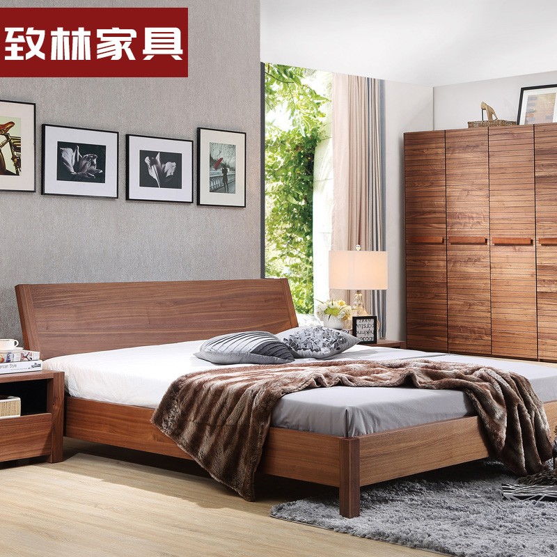Lin's Nordic solid wood bed, 1.8 meters double bed, modern minimalist bedroom furniture, plate special big bed, solid wood bed