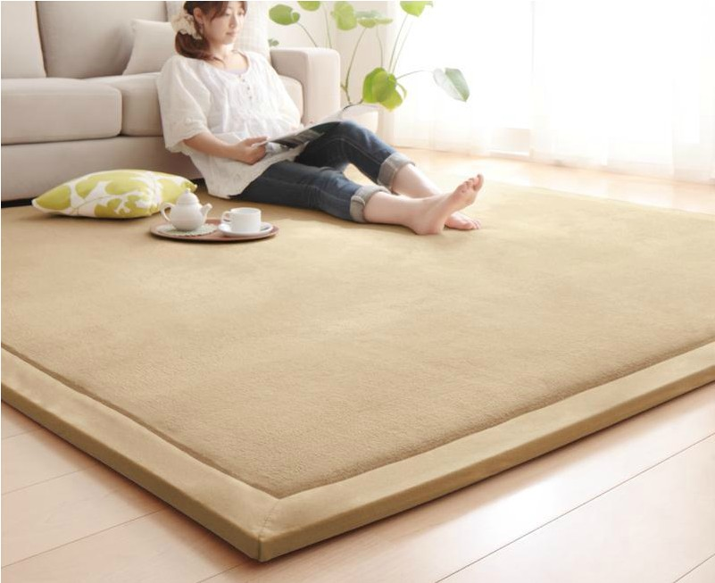 Thick blue bedroom bedside windows tatami baby pads coral cashmere carpet pad crawling climb