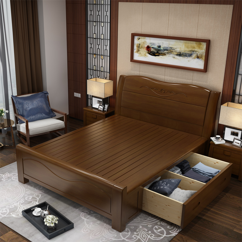 All solid wood bed, 1.5 oak beds, 1.8 meters, single, double, high box, storage bed, children's bed, 1.21.35 meters