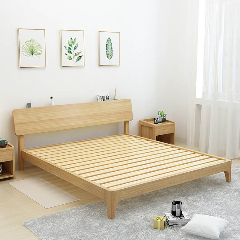 Leaf curl the Nordic modern minimalist style furniture large-sized apartment oak wood double bed 8014